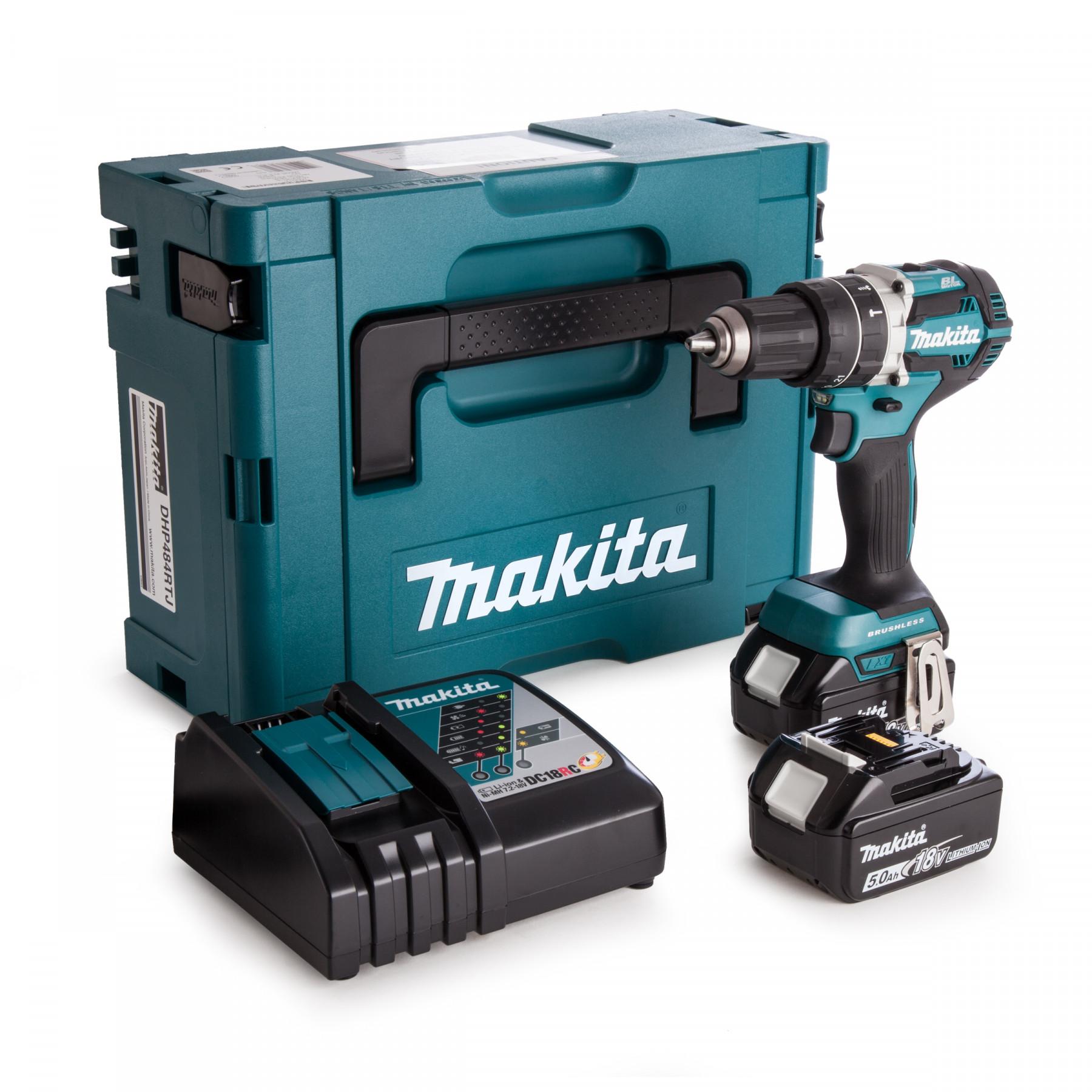 Makita DDF484RTJ 18 V Boor-/schroefmachine 5,0 Ah accu (2 st), snellader, Mbox